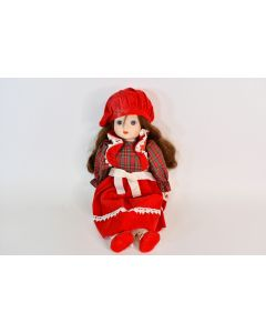 Wind Up Musical Painted Porcelain Doll With Brown Hair Red Dress & Hat - Works