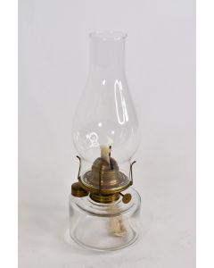 """Vintage Unbranded Clear Glass 12"""" Oil Lamp Light Home Decor W/ 1"""" Wick & Chimney"""