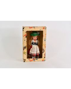 Vintage Plastic Doll Bavarian Dressed With Braids In Hair With Original Box