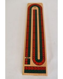 Cribbage Board Rectangular Incomplete 2-Track Layout 2 Green & 2 Red Peg Game