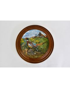 Vintage Knowles 1986 Framed The Pheasant Decor Plate 3608F W. Anderson W/Hanger