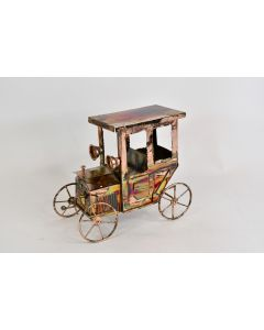 Vintage Copper Wind Up Antique Car Happy Days Are Here Again Music Box - Works