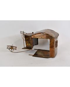 Vintage Copper Wind Up Music Box Airport Plays Fly Me To The Moon - Needs Repair