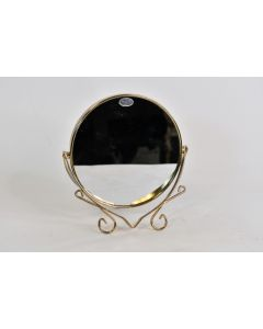 VTG Gold Tone 2-Sided Makeup Vanity Mirror W/Stand & Regular/3X Magnified Sides