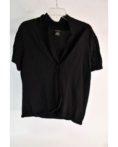 George Women's 100% Cotton Black Short Sleeved One Button Front Cardigan Size XL