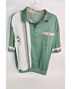 Men's Green Beige & White Short Sleeve Polo Shirt With Ribbed Waist - No Size