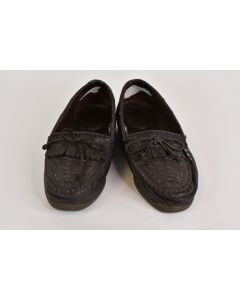 Brown Flat Slip On Shoes Moccasin Style Women's Size 6.5W Leather - Unbranded