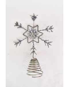 Metal Wire Snowflake Christmas Tree Topper With White & Blue Beads Holiday Décor