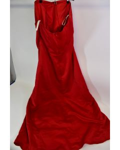 Custom Creations Women's Red Strapless Lined Formal Gown Zip Up Dress - No Size