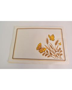 Set of 13 Wheat & Butterfly Design Ivory Rectangular Paper Placemats Tableware