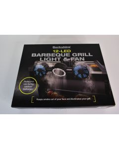 Berkshire 12-LED Barbeque Grill Light & Fan W/Adjustable Clamp Patio BBQ - Works