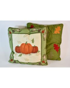 Set of 2 Green Fall-Themed Couch Throw Pillows Appliqued Pumpkin & Leaf Designs