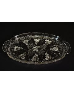 Vintage 1950s Anchor Hocking Crystal Clear Oval Grapevine Snack Plate W/Handles