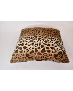 Plush Throw Pillow W/Leopard Pattern & Solid Black Back Couch Home Sofa Décor