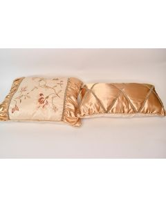 Set of 2 Assorted Gold Floral Decorative Throw Pillows W/Ornate Embellishments