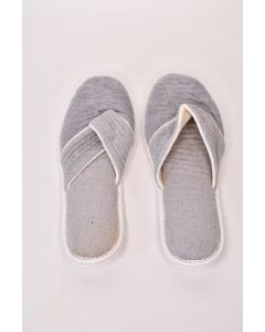 Mens Gray Hard-Bottomed Bath Slippers Size Large 11-12.5