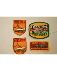 Set Of 4 Nebraska Patches Embroidered Fabric Sewing Embellishments Covered Wagon