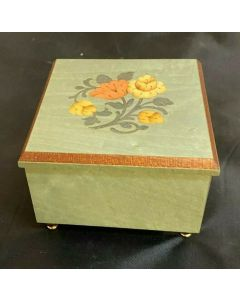 VTG Wooden Jewelry/ Trinket Music Box Funiculi Funicula Italy Works Sound Great